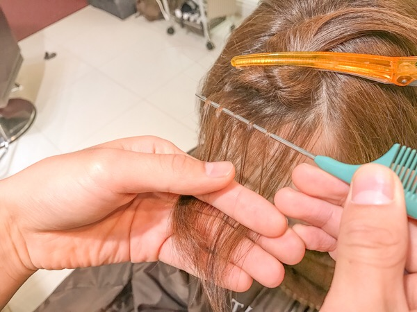 前髪にハイライトとローライト入れる