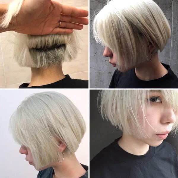 本日のお客様/実録カット・カラー【 ホワイトヘアーの作り方・ボブヘア 】頭皮が弱い方はやめましょう!