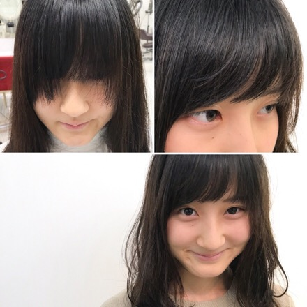 【 15センチ切りロングから小顔セミディースタイルに☆そして前髪修正カット 】ロング・セミロング・セミディー・ミディアム