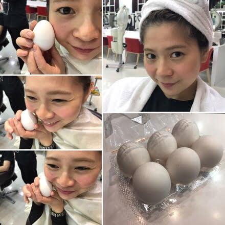 卵に顔をスリスリ