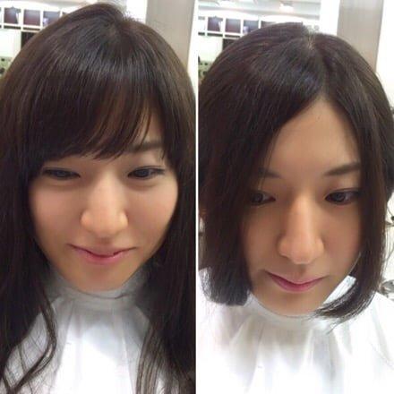 前髪が長い状態から短く切る